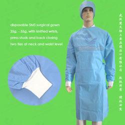 ポリプロピレンNonwoven/SMS/PP+PE/Medical//Hospitalの外科医かPolyethylene/PE/CPE/PPの使い捨て可能な手術衣、使い捨て可能な隔離のガウン、使い捨て可能で忍耐強いガウン
