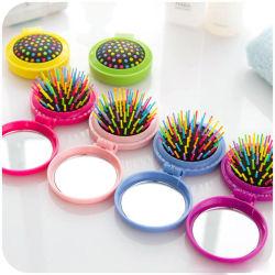 Nieuwe make-up kam haarborstel PRO Styling Tool draagbare mini Opvouwbare haarkam Airbag Massage Ronde Reis haarborstel met Spiegel