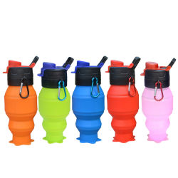 Produtos mais vendidos da FDA 530ml de Silicone Colapsável Exterior Sports garrafa de água