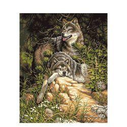 L'huile numérique Chenistory Peinture par numéros de loups Photo sur toile avec le châssis pour les kits