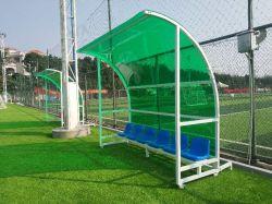 Fußball-Mannschaftsspieler-Trainer-Vorbehalt-Prüftisch-Stadion-Lagerung