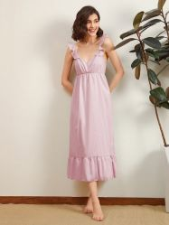 Heiße Verkaufs-kundenspezifische Baumwollleinenpyjamas Wholesale Frauen Onesie graues Riemen-reizvolles Nachtzeug-Retro langes Kleid mit Flounce