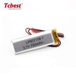 Venta caliente Lp602158 Lp Li-Po de 3.7V 750mAh de polímero de litio batería de polímero de litio para GPS Tracker Producto con PCM y 2.54Conector JST