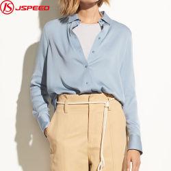 100% шелковые рубашки Голубой женщин моды вверх блуза для леди