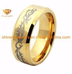 Jóias de ouro de alta qualidade laser de galvanização do anel de tungsténio (TSTG004)
