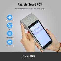 Biométricos y NFC Android POS portátil Terminal con Identificación de Huellas Dactilares (HCC-Z91)