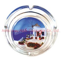 cadeau de promotion de vente en gros à l'impression de verre rondes Cigar cendrier cendrier en cristal personnalisé