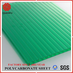 Protección UV lámina hueca de policarbonato PC paneles solares para Carports
