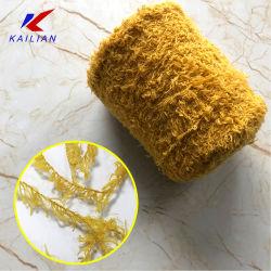 羽ヤーンの黄色カラー女性のために編む100%年のポリエステルかぎ針編みの豪華なヤーン