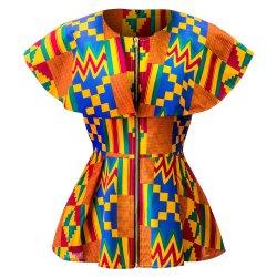 De Afrikaanse de bemanning-Hals van Af:drukken Kente Sleeveless Blouse van de Vrouwen van de Kaap
