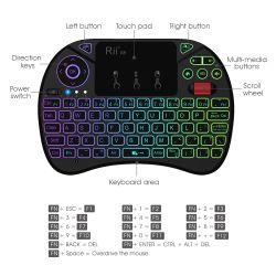 Rii X8 2,4 Ghz, clavier sans fil Mini 71 touches du pavé tactile de 2,5 pouces avec rétroéclairage