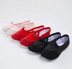 Самый дешевый складной головки блока цилиндров из натуральной кожи с параллельными гранями Ballerina танцевальная обувь балет обувь