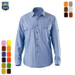 Bouton personnalisé jusqu'Poplin Industrial chemise de travail avec des poches