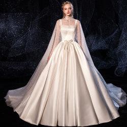 Горячая Продажа роскошных шелковых Strapless свадебные платья с покровом