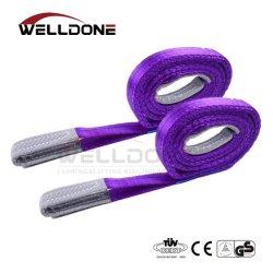 1 tonne 1m à 10m de longueur 30mm de largeur Prix bon marché Polyester 1t sangle ceinture élingue de levage de couleur pourpre le facteur de sécurité 8 : 1 7 : 1 6 : 1