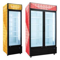 Стеклянные двери дисплея замороженные Showcase
