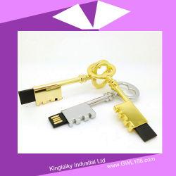 En forma de llave USB Pen Drive en plata y chapado en oro Ku-023