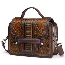Precio al por mayor fabricante de buena calidad Vintage de cuero marrón bolso de mano monedero de la mujer
