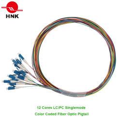 12コアSc LC FC Stの色分けされた光ファイバピグテール