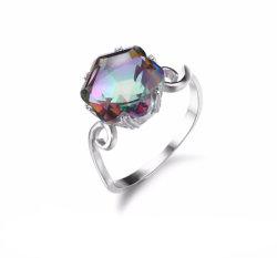 3.2CT verdadeira Rainbow Fire Mystic Topaz Ring 925 sólido Sterling Silver jóias melhores dom para as mulheres belas jóias