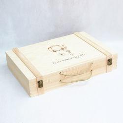 Caso di legno 51X35X10cm di immagazzinamento in il contenitore di legno di vino delle sei bottiglie