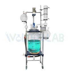 50L 100L résistant à la corrosion à double paroi de grande capacité de mélange de produits chimiques de distillation sous vide de laboratoire de la pression de réacteur en verre gainé.