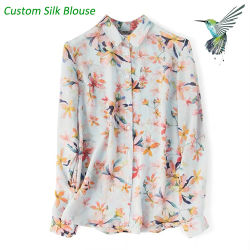 Custom Floral Print 100% Silk Women blouse Silk Lady Shirt