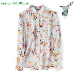 Custom рисунком 100% шелк женщин блуза из шелка леди футболка