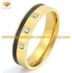 Usine de bijoux de mode de gros de l'acier Titane bague diamant or Zircon noir en acier inoxydable Bague Goutte d'huile pour les hommes d'Ukraine2061