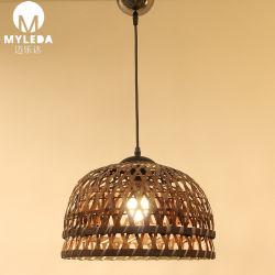 Casa de bambú decorativa lámpara de araña de techo de madera colgando de la luz de lámpara colgante