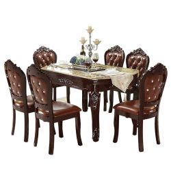 Muebles de lujo de estilo americano, tallados en madera maciza mesa de comedor