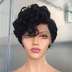 Corte Pixie - Peruca Curta Brasileiro Peruca ondulada de cabelo humano Perucas 13X6 Curto Bob Lace frontal para mulheres negras parte lateral
