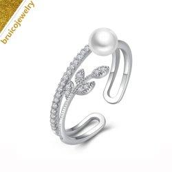 Leaf Design Fashion Bijoux en argent plaqué or 18k Bijoux perle Bague avec zircone cubique