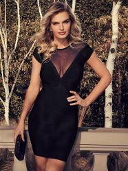 Sexy noir V Mesh See-Through Slimming Bandage Dress Celebrity robe de soirée