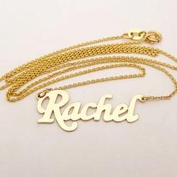 주문 스테인리스 316L 노란 백색 로즈 숙녀를 위한 금에 의하여 도금되는 보석 알파벳 편지 이름 목걸이