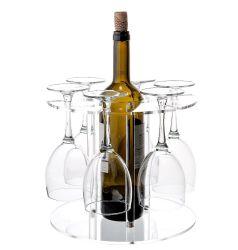 Acrílico transparente vaso de vino y la botella al por mayor soporte de pantalla