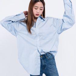 女性の長い袖のための2018の最新のワイシャツデザインは十分を広げられたカラーシフォンの100%年の綿のファイバーの内容緩める