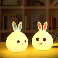 Häschen-Lampe USB der Kaninchen-Silikon-Lampen-beweglicher LED nachladbar