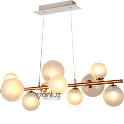 Montaje en Techo LED redonda blanca bola de cristal Opal Lampshade Candelabros