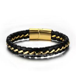 方法人および女性のための革ブレスレットの金ワイヤーデザイン磁気ボタン