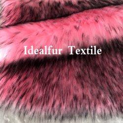 Het roze Lange Kunstmatige Bont van het Uiteinde van de Stapel Zwarte voor Kraag