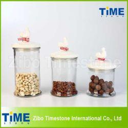 Ensemble de 3PCS conteneurs de verre avec couvercles à joint de coq en céramique