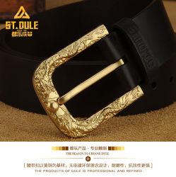 Design personalizado dragão chinês gravura do pino de latão Vaca Graneleiro Cheio de caixa de travamento de cinto de couro Fashion Homem com Melhor Preço de correia do cinto de segurança