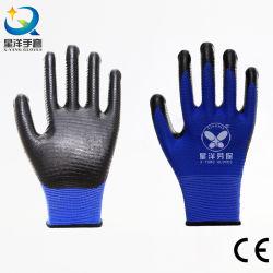 13G Blauw U3 U4 Zebra Liner Zwart Nitril Palm Coated Werkveiligheid Werkhand Handschoen CE