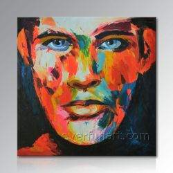 写真からの手塗りの現代キャンバスのポップアートの絵画肖像画の油絵