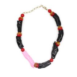 Acryl Harz Schmuck Boho Stil Frauen Halskette Kette Namensschild