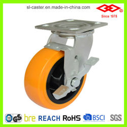 200mm PU seul frein de pivotement des roues pivotantes Heavy Duty (P701-36D200x50AIZ)