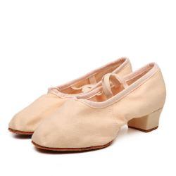 نساء باليه رقص أحذية [رومبا] يرقص رقصة فالس [بروم] يعزل أحذية نوع خيش 1.4 '' [لوو-هيل] الزلّة على مستديرة إصبع قدم بنت [بروم] أحذية [إسغ13807]