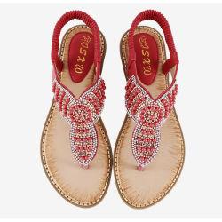 2019 Novo Design de verão quente da Boémia de moda venda de borracha confortável sapatos e sandálias mulher plana de couro