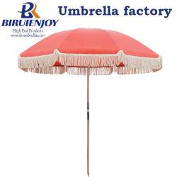 200cm Premium Grade commercial Patio extérieur parasol pour Sun avec bois Portable Pole et Tassel/Fringe 50+ UV